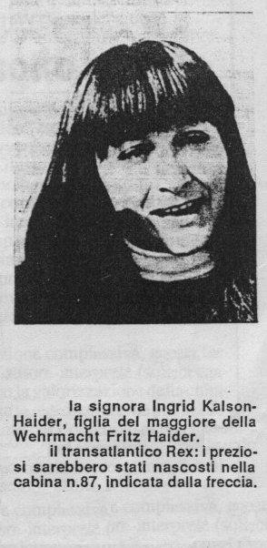 Ladja Rex, Ingrid Kalson - Haider, skriti zaklad, zlato, zaklad, dragi kamni,