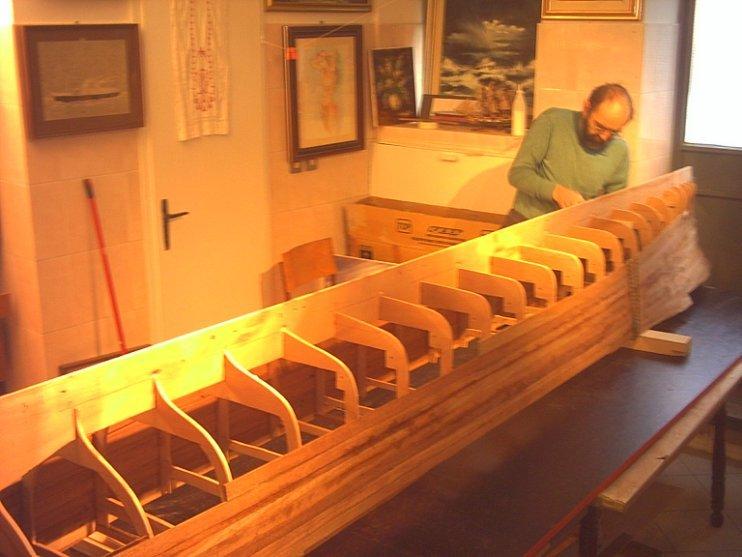 Ladja Rex, izdelovanje makete, maketa, leseno ogrodje